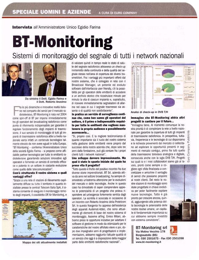 Stampa Protel Antenne BT Monitoring  2007